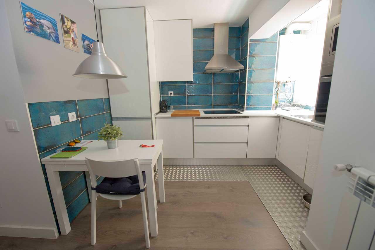 reforma cocina americana de piso en Madrid