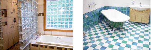 materiales prácticos para el baño cristal y cerámica