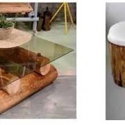 madera natural reconvertida en muebles