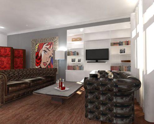 Proyecto en 3D reforma y diseño de interiores piso