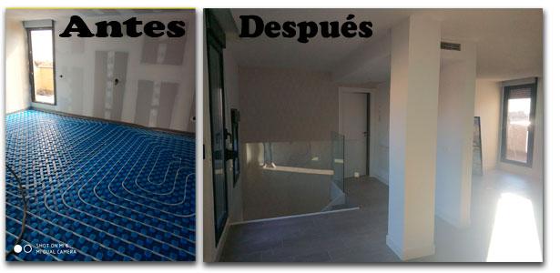 antes y después Instalación de suelo radiante en Madrid