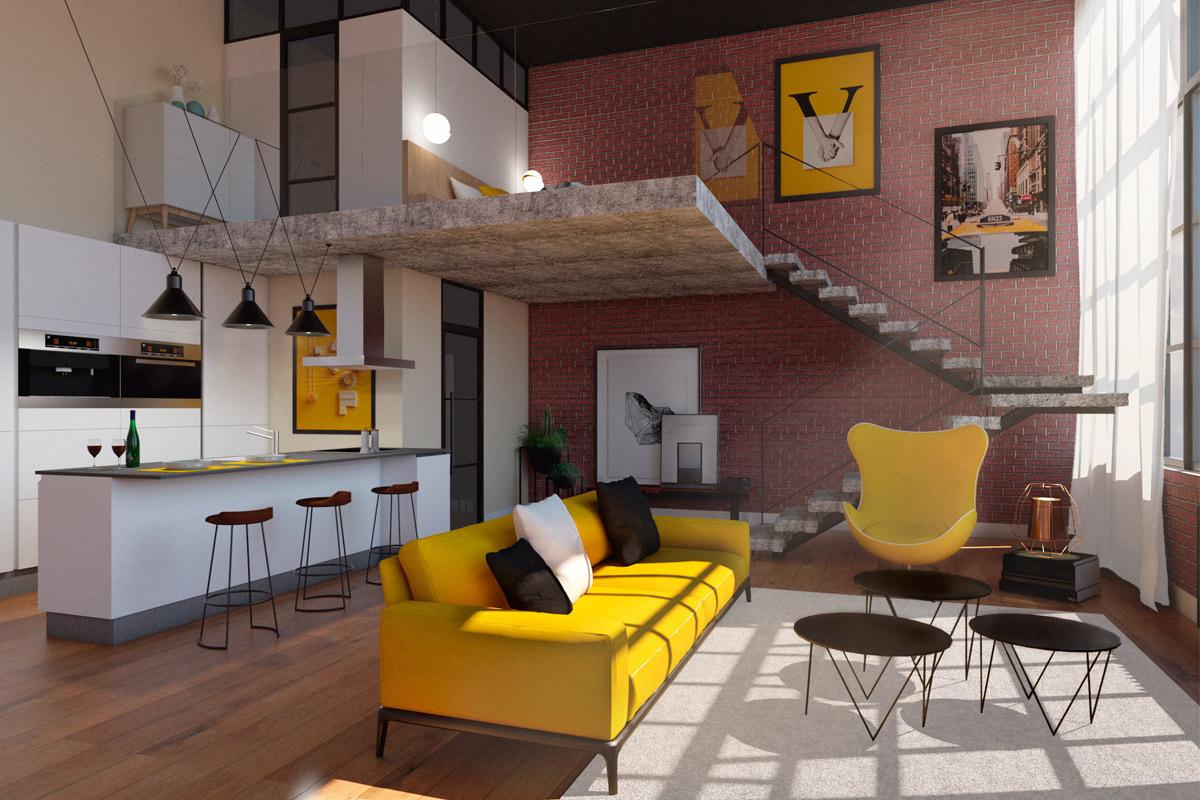 diseño e interiorismo de loft en Madrid