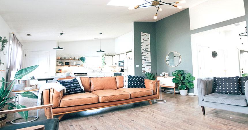 Salón de vivienda eco-friendly