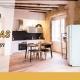 """Apartamento en Madrid recién reformado con cocina unida al salón y el texto: """" ayudas a las reformas de hasta un 100%"""""""